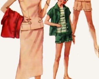 Vintage 50s Simplicity 1124 Misses' Weekend Wardrobe Overblouse Skirt Shorts Jacket Size 12 Bust 30 Uncut