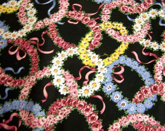Vintage Fabric  Flower Wreaths Cranston Print Works By the Half Yard