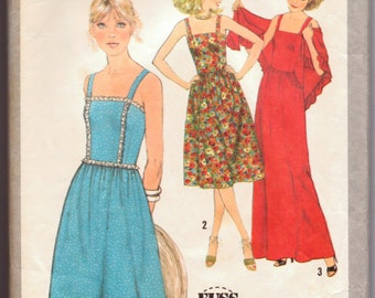 Vintage 1978 Sewing Pattern Simplicity 8465 Misses' Sun Dress with Shawl Size 12 Bust 34 Inches Uncut Complete