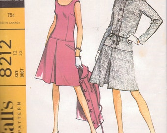 Vintage Sewing Pattern McCall's 8212 Dress and Jacket Size 12 Bust 32 inches Uncut Complete 60's Fashion
