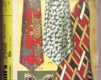 Vintage Sewing Pattern McCall's 2568 Men's Straight and Bow Ties Complete