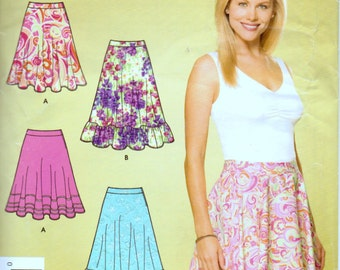 Sewing Pattern Simplicity Misses' Skirt with Ruffle Size 6-18 Uncut Complete FF