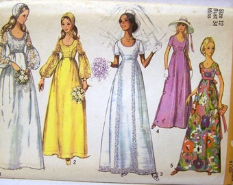 Vintage 70's Sewing Pattern  Simplicity 9260 Wedding Dress Bridesmaid Dress with Cap  Complete Bust 36 Inches