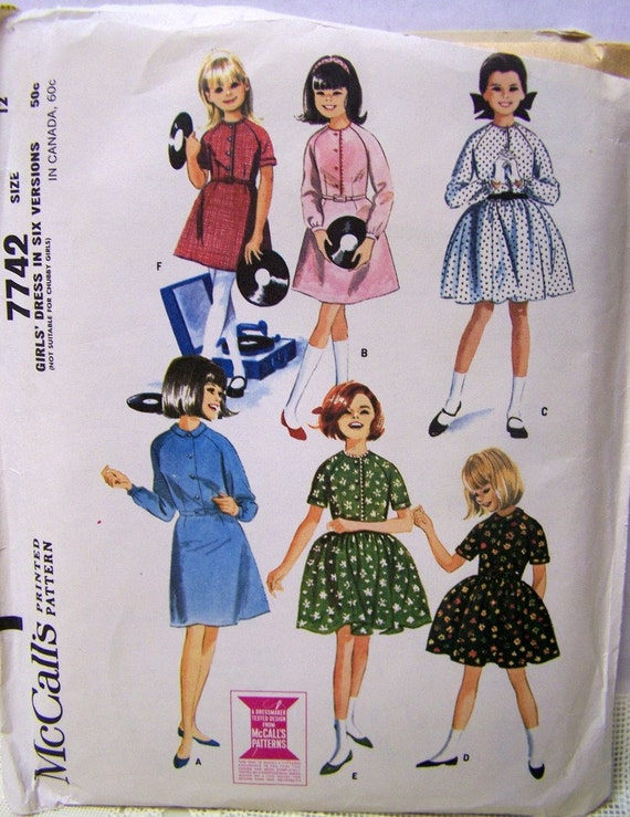 Vintage 60s McCalls 7742 Girls RETRO Dress in 6 Versions Sewing Pattern Size 12 UNCUT