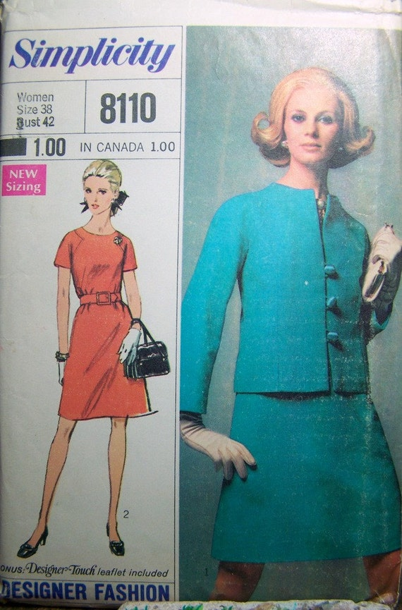 Vintage 60's  Sewing Pattern Simplicity 8110 Dress Jacket   Bust 42 Complete