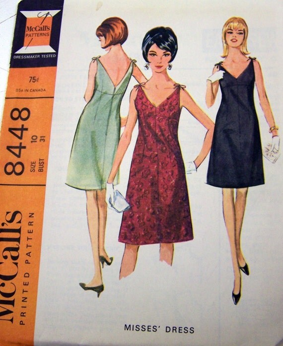 Vintage 60's Sewing Pattern McCall's 8448 Misses' Little Black Dress Bust 31 inches Uncut Complete FF