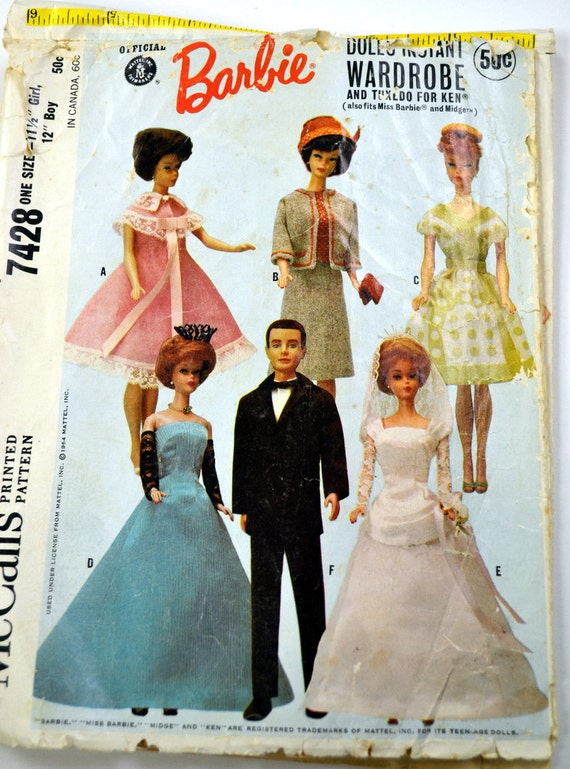 Vintage Sewing Pattern 1964 McCall's 7428 Barbie's Wedding Gown