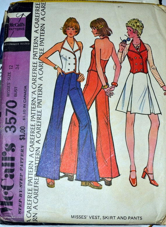 Sewing Pattern McCall's 3570 Mini Skirt Bell Bottom Pants Halter Top Size 12 Bust 34 Complete