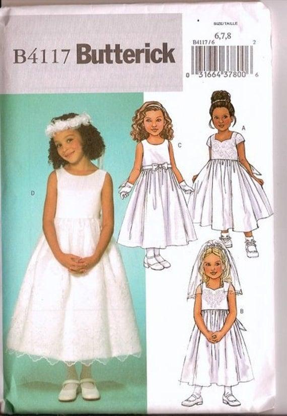 Sewing Pattern Butterick 4117 Flower Girl Dress Pattern Uncut
