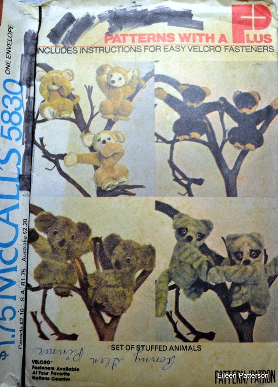 Sewing Pattern McCall's 5830 Stuffed Kaolas Raccoons Monkeys Complete