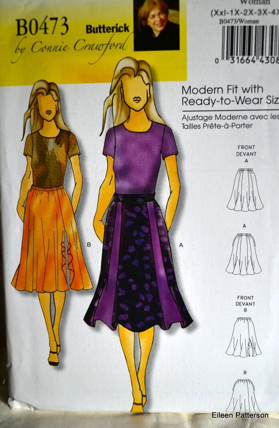 Sewing Pattern Butterick 0473 Misses' Skirt Sizes xxL-6X Ready to Wear Sizing Complete Uncut FF