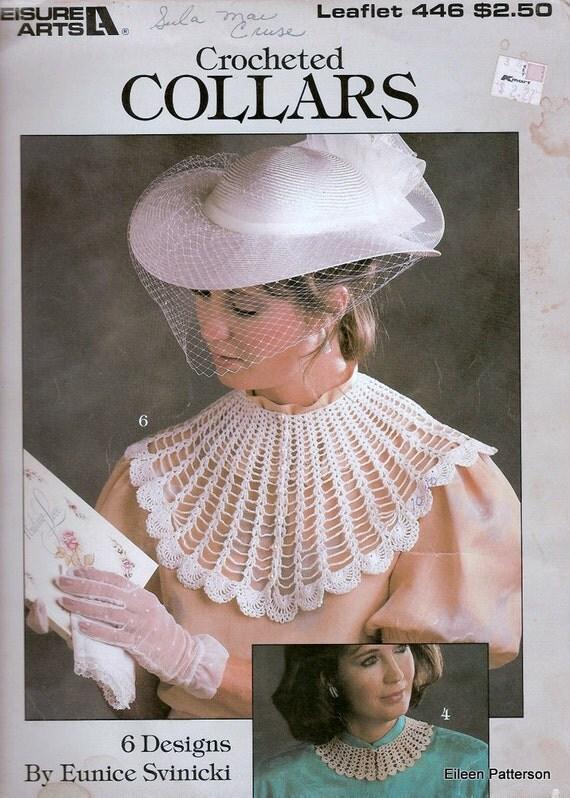 Vintage Crochet Pattern Crocheted Collars 6 Designs