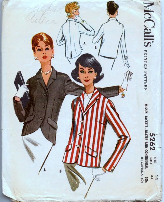 Vintage 1959 Sewing Pattern McCall's 5265 Misses' Jackets Bust 34 Inches Complete