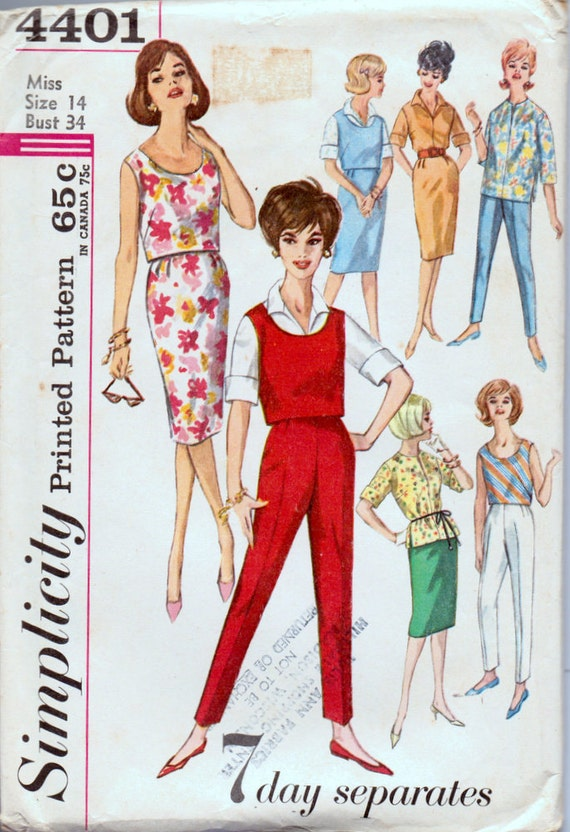 Vintage 1960's Sewing Pattern Simplicity Primer 4401Separates Pants  Size 14 Bust 34 inches Complete