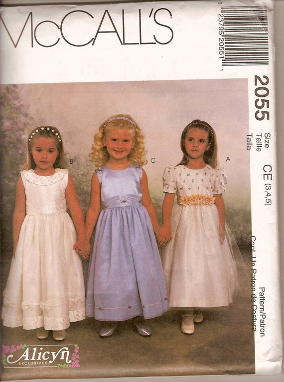 Sewing Pattern Mccall S 2055 Flower Girl Dress Uncut And