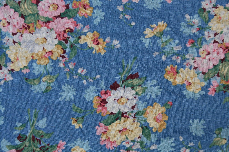 Vintage Floral Fabric Wonderful Texture Blue Floral Print