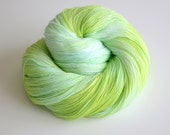 Hand Dyed Lace Yarn - 875 Yards Superwash Merino and Silk - Yemaya in Turquoise Blue Lime Green - ToilandTrouble
