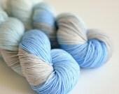 Lady Sybil - Downton Abbey Yarn - Hand Dyed Sock Yarn - Blue and Gray