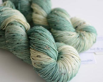 Ent - Tweed Yarn - Hand Dyed Sock Yarn- Pine Green and Cream - Lord of the Rings - Variegated Yarn
