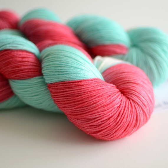 Red Sky in the Morning - Hand Dyed Sock Yarn - Fingering Weight - Coral Red and Turquoise Blue - Merino Wool - Literary