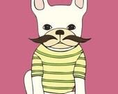 French Bulldog with Mustache Art Print - Frenchie Print - French Bulldog Art - Pink and Yellow - Stripes - Wall Art for Kids - Nursery Art