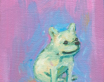 French Bulldog Art Print - Seated French Bulldog - Frenchie Print - Mini Print - Tiny Art - Wall Art for Kids - Nursery Decor - Office Decor