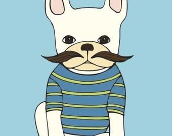 French Bulldog With Mustache Art Print - French Bulldog Art- Frenchie Art Print- Mustache Art Print - Wall Art - Office Decor - Kids Art