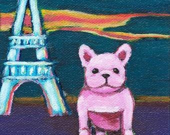 French Bulldog at The Eiffel Tower Art Print - French Bulldog in Paris - French Bulldog Art Print - Mini Art Print - Tiny Art - 4 x 4 Print