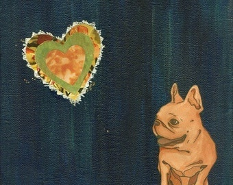 French Bulldog with Hearts Art Print - Frenchie Print - Frenchie Art Print - Nursery Art - Wall Art for Kids - Office Decor - 8 x 8 Print