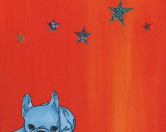 French Bulldog Art Print - French Bulldog Collage - French Bulldog Stars - French Bulldog Painting - Orange & Blue - Sunset Inspired