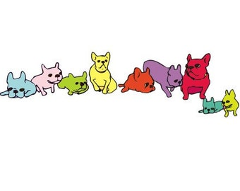 Rainbow French Bulldogs Art Print - 5 x 7 Art Print - French Bulldog Art - Colorful Wall Art - Wall Art for Kids - Frenchie Print -