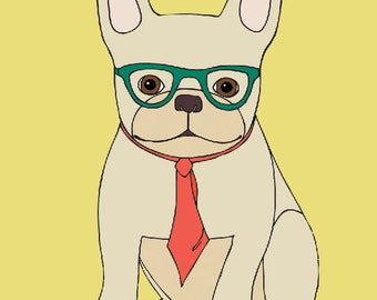 French Bulldog with Glasses Art Print - Frenchie with Tie - French Bulldog Art - Office Decor - Nursery Art - Wall Art for Kids - Wall Art