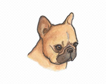 French Bulldog Art Print - French Bulldog Art - Frenchie Decor - Tiny Art Print - Mini Print - Nursery Wall Art - Watercolor Illustration