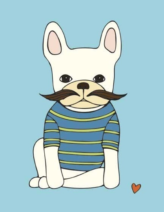 French Bulldog With Mustache Art Print - French Bulldog Art- Frenchie Art Print- Mustache Art Print - Wall Art - Office Decor - Kids Art