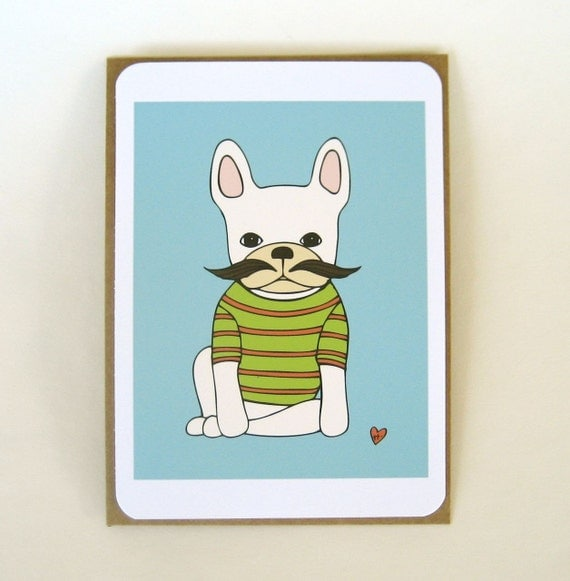 french bulldog with mustache flat note cards set of 15 // green & orange stripe