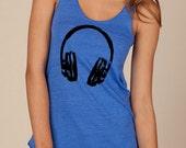 Large Headphones Dj Girls Ladies Heathered Tank Top Shirt silkscreen screenprint Alternative Apparel