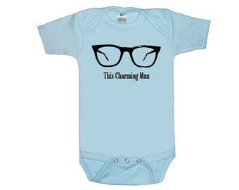 This Charming man baby bodysuit one piece creeper  screenprint Choose Size