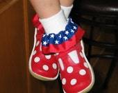 Custom Boutique Patriotic Ribbon Ruffle Socks - Great for Memorial Day and 4th of July- USA - Any Size