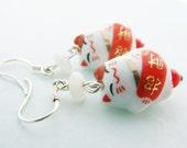 Zhao Cai lucky cat (Maneki Neko) earrings