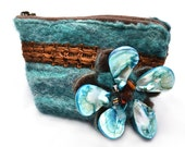 Felt teal Purse with pearl shell brooch