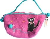 PInk felt handbag with grey cat- Curious kitty felt Handbag