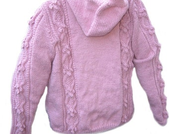 Womens winter woolly pink hand knitted Aran cardigan size medium -cable knit hooded Top,Christmas gift