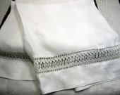 Vintage hand towel , guest towel in fine linen, white with insertion -