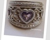 Vintage Sterling Silver ring with purple heart shaped stone- vintage silver jewelry -