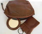 Vintage leather pouch in brown with mirror and key chain, key fob, soft brown leather, cosmetic bag, carry all