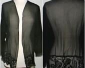 Vintage black silk over shirt , jacket,  Carole Dolighan, California
