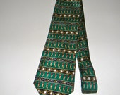 Vintage Silk tie featuring Golfers, green, great for dad or the man in your life
