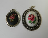 Vintage pendants, silver tone, with needlepoint, cross stitch pattern in relief, embroidered roses, flowers