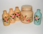 Vintage jar and bottles, hand painted, instant collection
