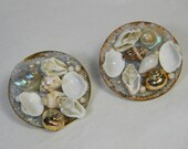Vintage clip on earrings, seashells, shells, could be handmade with copper like backs - made in Japan